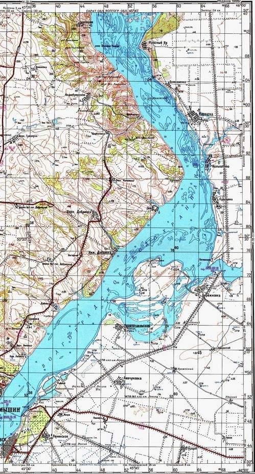 Карта Камышин - Ураков бугор - Щербаковка 1:00000