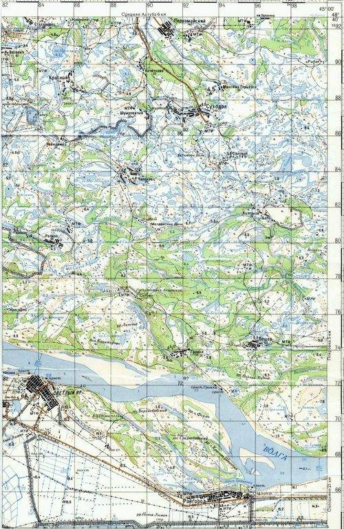Топографическая карта Волгограда и Волго-Ахтубинской поймы