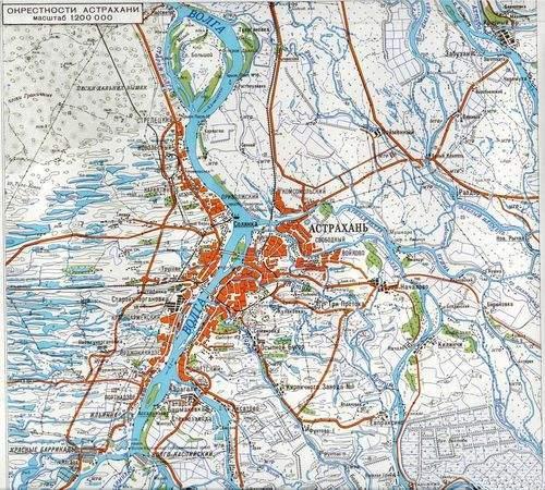 Карта Окрестности Астрахани