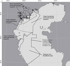Схема рыбохозяйственных подрайонов Южного рыбохозяйственного районаВолжско-Каспийского рыбохозяйственного бассейна